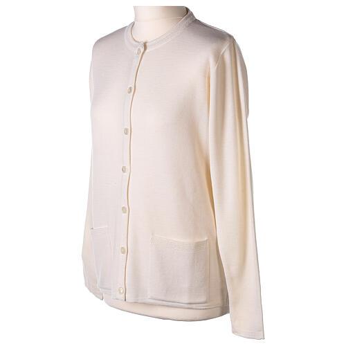 Cardigan blanc pour soeur col rond poches GRANDE TAILLE 50% acrylique 50% mérinos In Primis 3