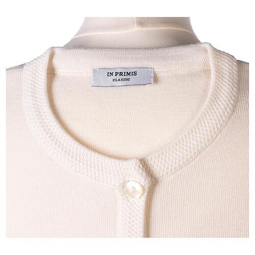 Cardigan blanc pour soeur col rond poches GRANDE TAILLE 50% acrylique 50% mérinos In Primis 7