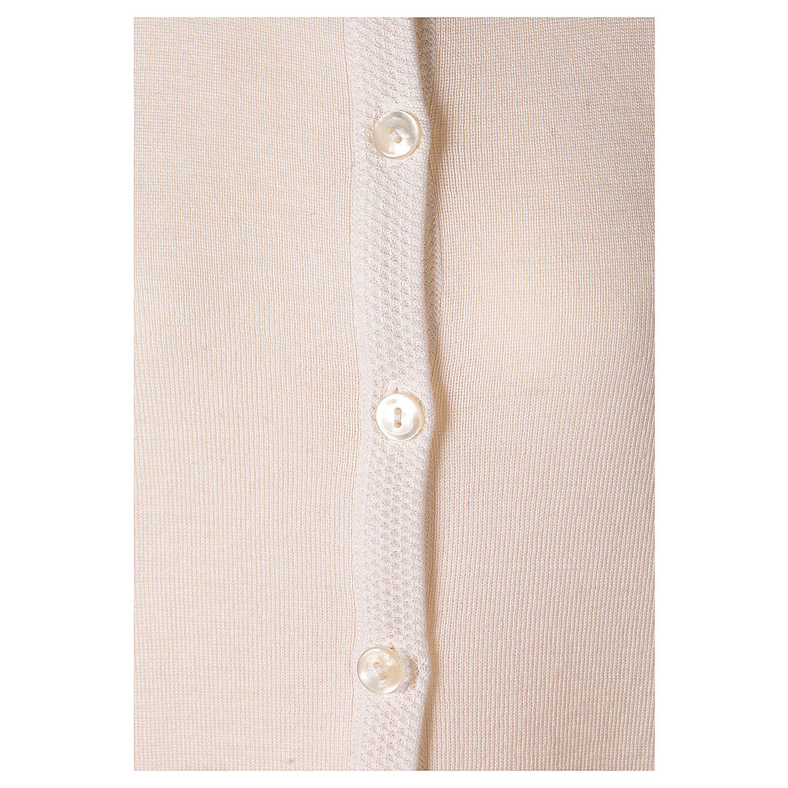 Nun white crew neck cardigan with pockets PLUS SIZES 50% merino wool 50% acrylic In Primis 4