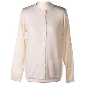 Nun white crew neck cardigan with pockets PLUS SIZES 50% merino wool 50% acrylic In Primis s1