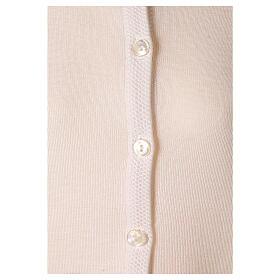 Nun white crew neck cardigan with pockets PLUS SIZES 50% merino wool 50% acrylic In Primis s4