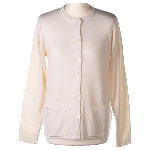 Nun white crew neck cardigan with pockets PLUS SIZES 50% merino wool 50% acrylic In Primis 1