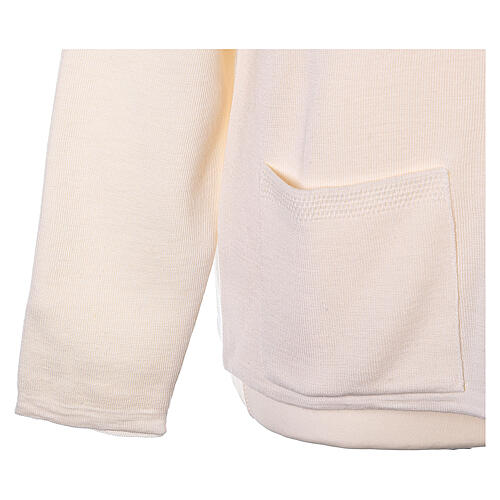 Nun white crew neck cardigan with pockets PLUS SIZES 50% merino wool 50% acrylic In Primis 5