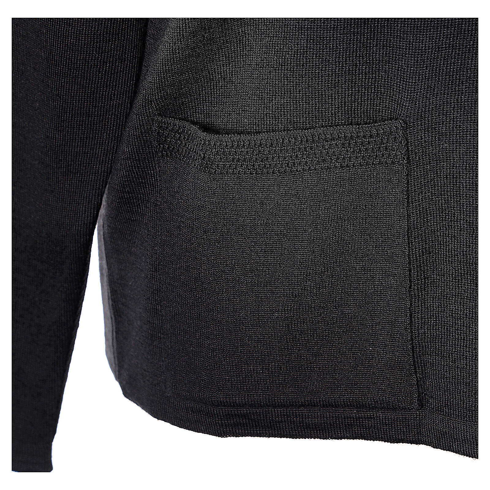 Cardigan pour soeur noir col en V poches GRANDE TAILLE 50% acrylique 50% mérinos In Primis 4