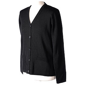 Cardigan pour soeur noir col en V poches GRANDE TAILLE 50% acrylique 50% mérinos In Primis s3
