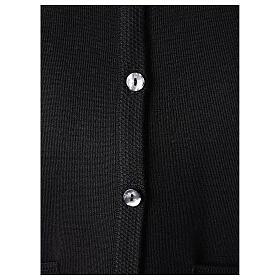 Cardigan pour soeur noir col en V poches GRANDE TAILLE 50% acrylique 50% mérinos In Primis s4