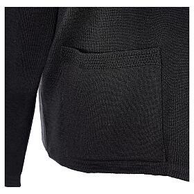Cardigan pour soeur noir col en V poches GRANDE TAILLE 50% acrylique 50% mérinos In Primis s5