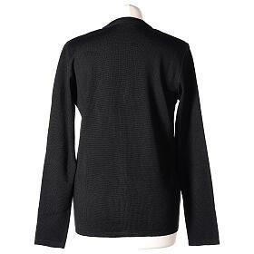 Cardigan pour soeur noir col en V poches GRANDE TAILLE 50% acrylique 50% mérinos In Primis s6