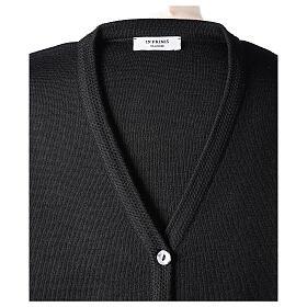 Cardigan pour soeur noir col en V poches GRANDE TAILLE 50% acrylique 50% mérinos In Primis s7