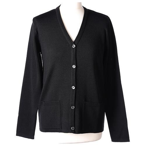 Cardigan pour soeur noir col en V poches GRANDE TAILLE 50% acrylique 50% mérinos In Primis 1