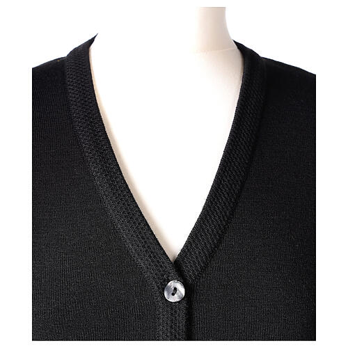 Cardigan pour soeur noir col en V poches GRANDE TAILLE 50% acrylique 50% mérinos In Primis 2