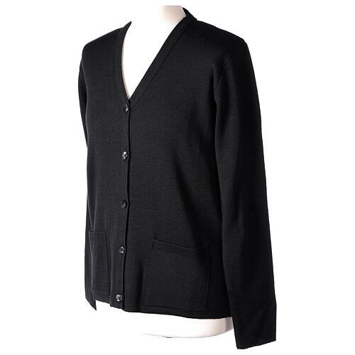 Cardigan pour soeur noir col en V poches GRANDE TAILLE 50% acrylique 50% mérinos In Primis 3