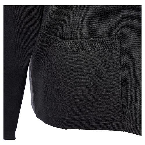 Cardigan pour soeur noir col en V poches GRANDE TAILLE 50% acrylique 50% mérinos In Primis 5