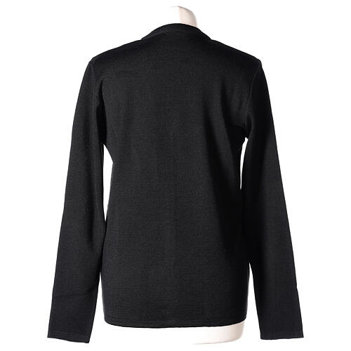 Cardigan pour soeur noir col en V poches GRANDE TAILLE 50% acrylique 50% mérinos In Primis 6