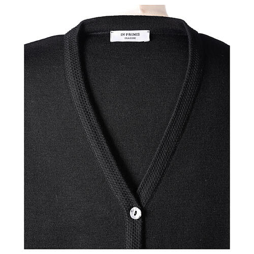 Cardigan pour soeur noir col en V poches GRANDE TAILLE 50% acrylique 50% mérinos In Primis 7
