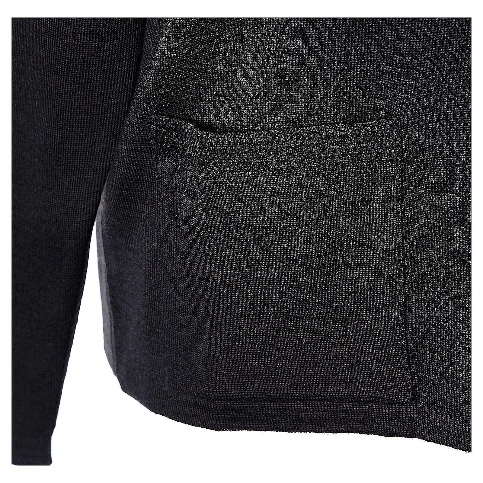 Cardigan suora nero collo V tasche TAGLIE CONF. 50% acr. 50% merino In Primis 4