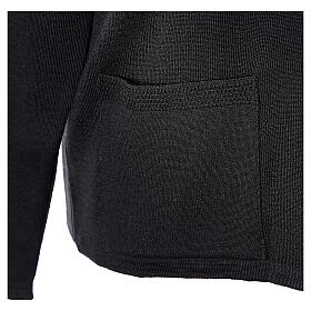 Nun black V-neck cardigan with pockets PLUS SIZES 50% merino wool 50% acrylic In Primis s5