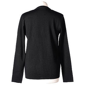 Nun black V-neck cardigan with pockets PLUS SIZES 50% merino wool 50% acrylic In Primis s6