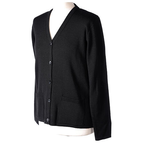 Nun black V-neck cardigan with pockets PLUS SIZES 50% merino wool 50% acrylic In Primis 3