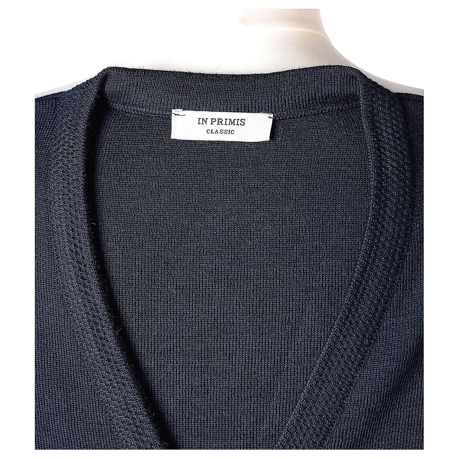 Cardigan pour soeur bleu bcol en V poches GRANDE TAILLE 50% acrylique 50% mérinos In Primis 4