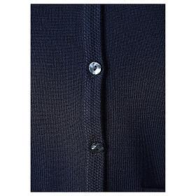 Cardigan blu suora collo V tasche TAGLIE CONF. 50% acr. 50% merino In Primis s4