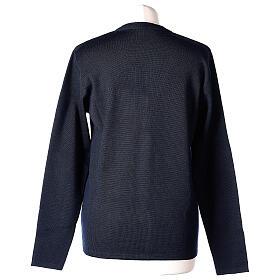 Cardigan blu suora collo V tasche TAGLIE CONF. 50% acr. 50% merino In Primis s6