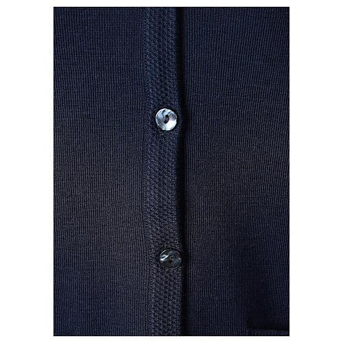 Cardigan blu suora collo V tasche TAGLIE CONF. 50% acr. 50% merino In Primis 4
