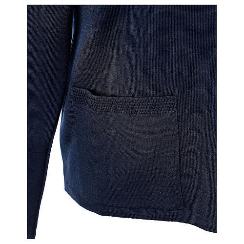 Cardigan blu suora collo V tasche TAGLIE CONF. 50% acr. 50% merino In Primis 5