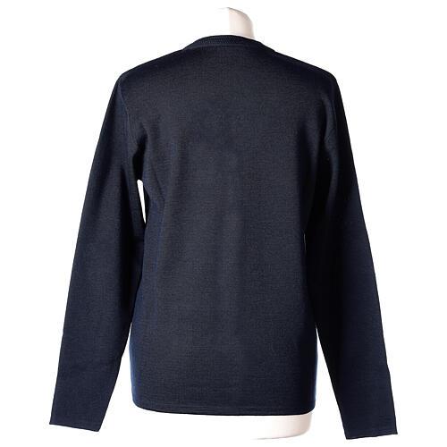 Cardigan blu suora collo V tasche TAGLIE CONF. 50% acr. 50% merino In Primis 6