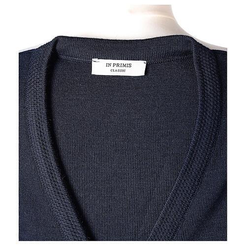 Cardigan blu suora collo V tasche TAGLIE CONF. 50% acr. 50% merino In Primis 7
