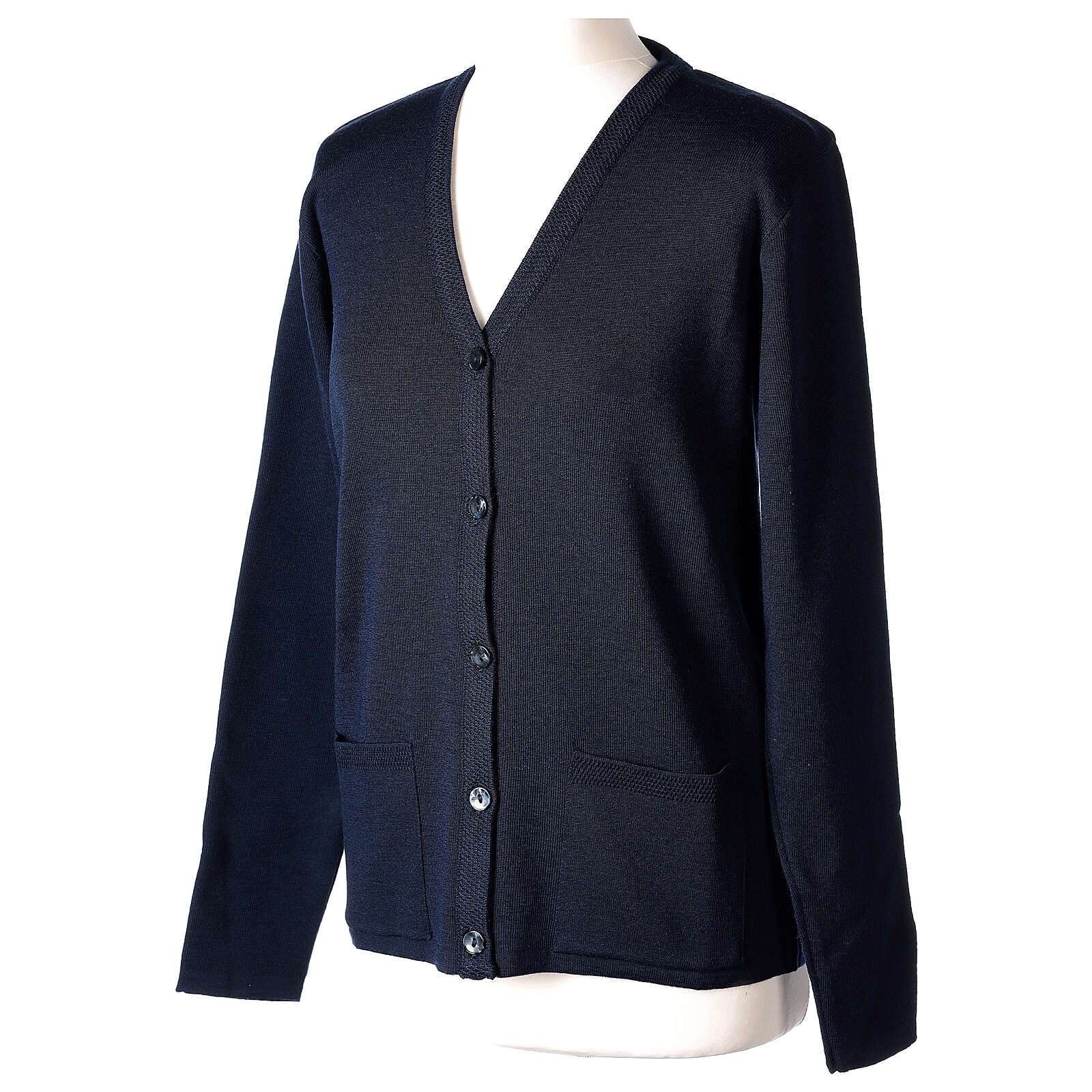 Nun blue V-neck cardigan with pockets PLUS SIZES 50% merino wool 50% acrylic In Primis 4