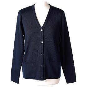 Nun blue V-neck cardigan with pockets PLUS SIZES 50% merino wool 50% acrylic In Primis s1