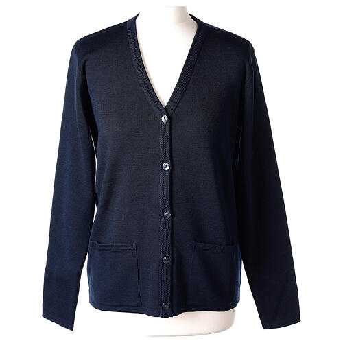 Nun blue V-neck cardigan with pockets PLUS SIZES 50% merino wool 50% acrylic In Primis 1
