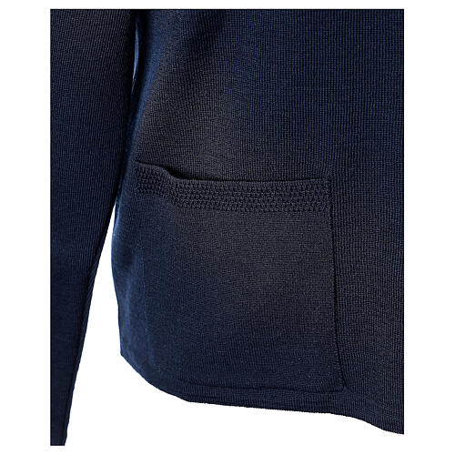 Nun blue V-neck cardigan with pockets PLUS SIZES 50% merino wool 50% acrylic In Primis 5