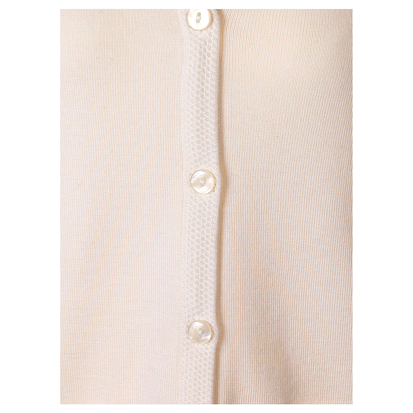 Cardigan suora bianco collo V tasche TAGLIE CONF. 50% acr. 50% merino In Primis 4