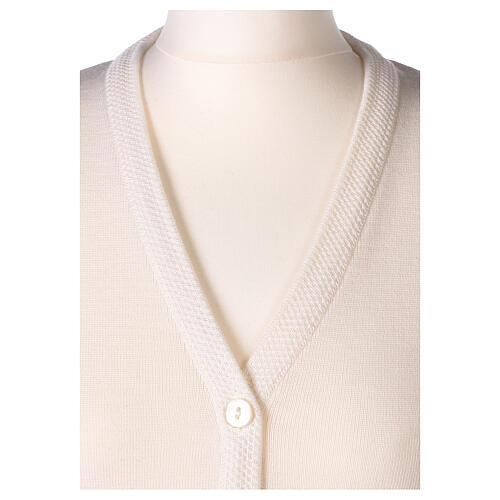 Cardigan suora bianco collo V tasche TAGLIE CONF. 50% acr. 50% merino In Primis 2