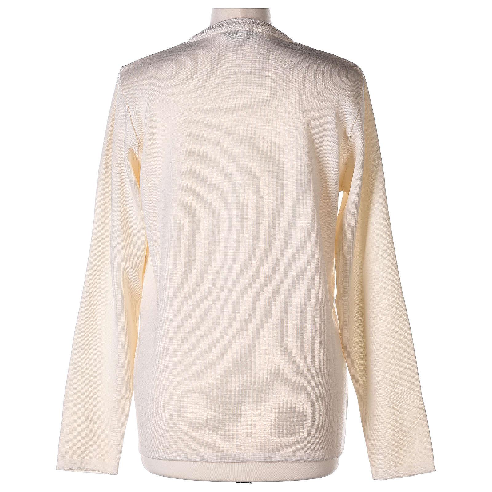 Nun white V-neck cardigan with pockets PLUS SIZES 50% merino wool 50% acrylic In Primis 4
