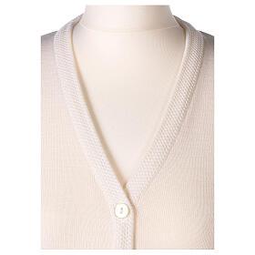 Nun white V-neck cardigan with pockets PLUS SIZES 50% merino wool 50% acrylic In Primis s2