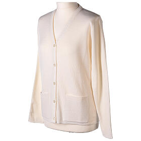Nun white V-neck cardigan with pockets PLUS SIZES 50% merino wool 50% acrylic In Primis s3
