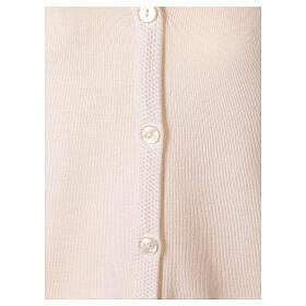 Nun white V-neck cardigan with pockets PLUS SIZES 50% merino wool 50% acrylic In Primis s4