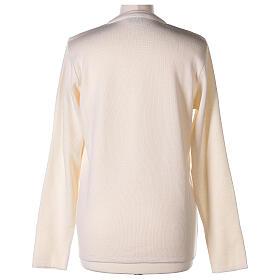 Nun white V-neck cardigan with pockets PLUS SIZES 50% merino wool 50% acrylic In Primis s6