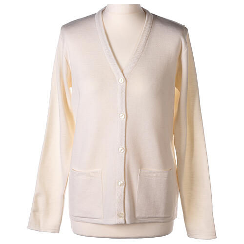 Nun white V-neck cardigan with pockets PLUS SIZES 50% merino wool 50% acrylic In Primis 1