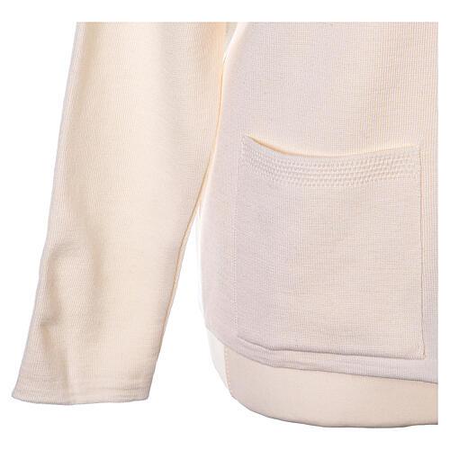 Nun white V-neck cardigan with pockets PLUS SIZES 50% merino wool 50% acrylic In Primis 5