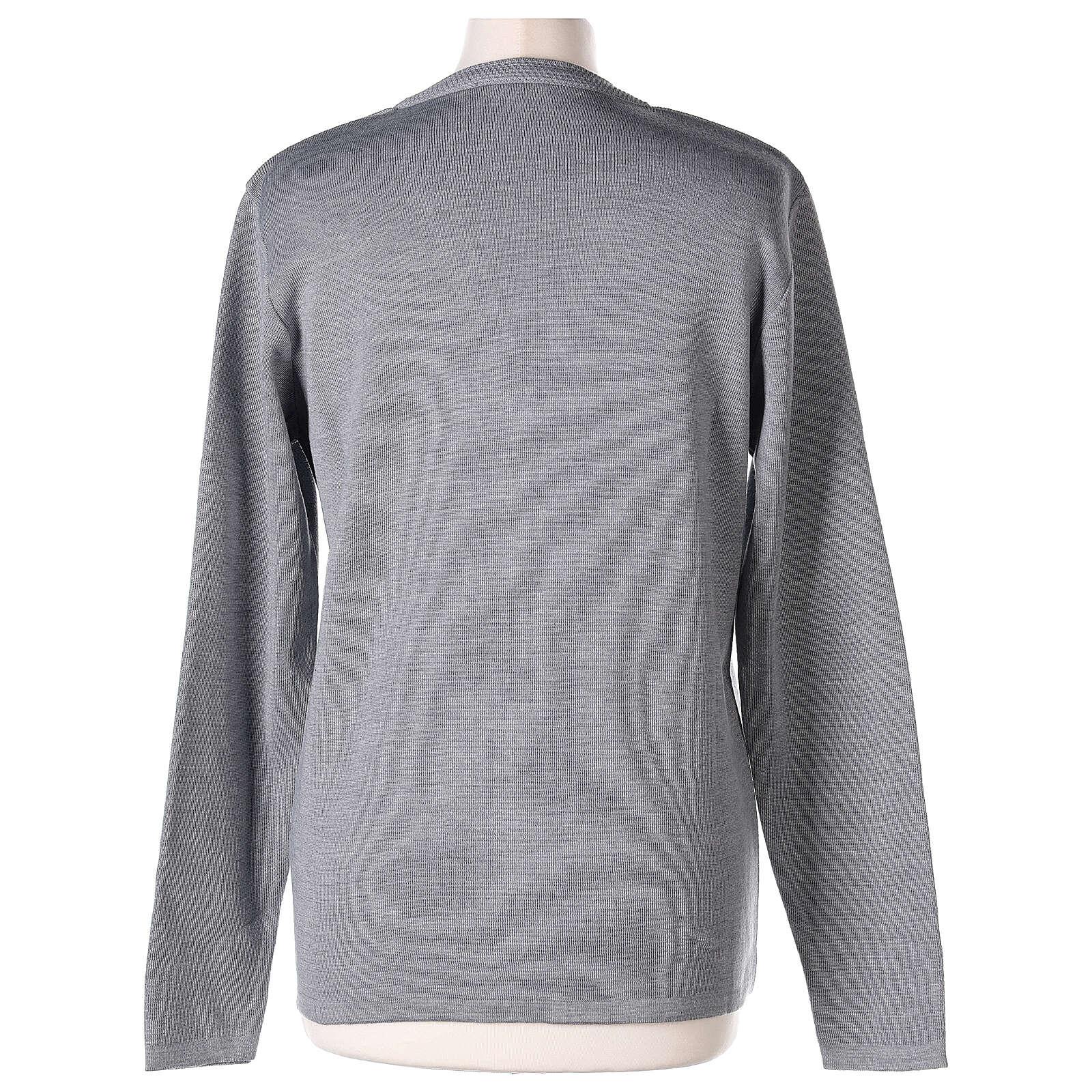 Cardigan suora grigio perla collo V tasche TAGLIE CONF. 50% acr. 50% merino In Primis 4