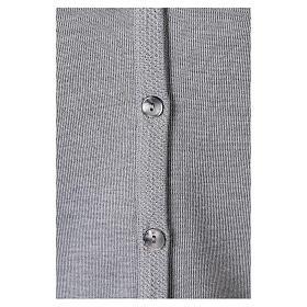 Cardigan suora grigio perla collo V tasche TAGLIE CONF. 50% acr. 50% merino In Primis s4