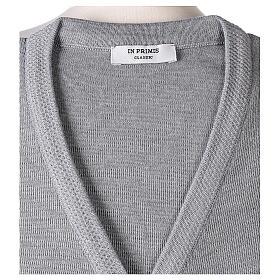 Cardigan suora grigio perla collo V tasche TAGLIE CONF. 50% acr. 50% merino In Primis s7