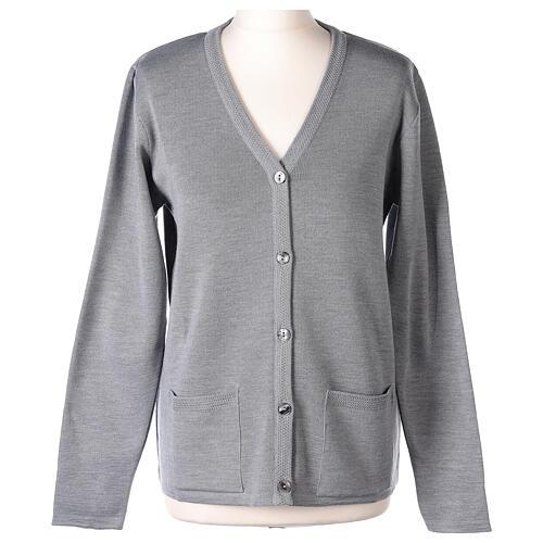 Cardigan suora grigio perla collo V tasche TAGLIE CONF. 50% acr. 50% merino In Primis 1