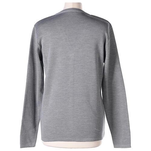 Cardigan suora grigio perla collo V tasche TAGLIE CONF. 50% acr. 50% merino In Primis 6