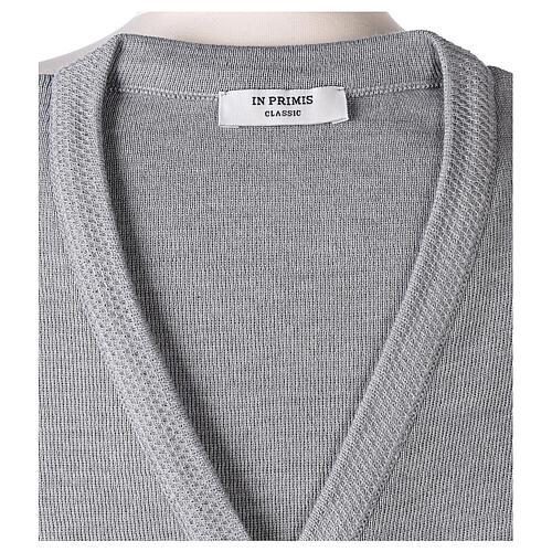Cardigan suora grigio perla collo V tasche TAGLIE CONF. 50% acr. 50% merino In Primis 7