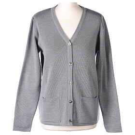 Nun grey V-neck cardigan with pockets PLUS SIZES 50% merino wool 50% acrylic In Primis s1